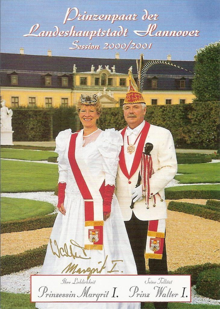 Prinzenpaar der Landeshauptstadt Hannover 2000/01 • Seine Tollität Walter I. und ihre Lieblichkeit Margrit I.