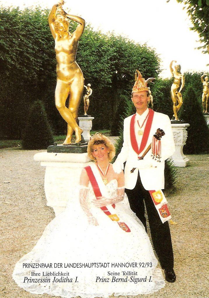 Prinzenpaar der Landeshauptstadt Hannover 1992/93 • Seine Tollität Bernd-Sigurd I. und ihre Lieblichkeit Joditha I.